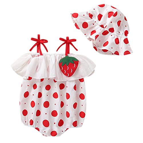 Zylione MäDchen Overall Kinder Baby äRmellose Schlinge Plissee Tupfen Gedruckt Hut Roben Onesies