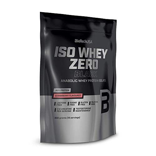 BioTechUSA Iso Whey Zero Black, contenuto del 90% di proteina, con aggiunto di creatina, amminoacidi, chelato di zinco e vitamina B3, 500 g, Fragola