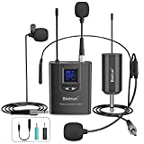 Wireless Headset Lavalier Microphone System/Lapel Mic/Stand Mic, UHF Wireless Microphone System, Rechargeable Rx&Tx, 1/4' Output, for iPhone, DSLR Camera, AMP, PA Speaker, Video Recording, Teaching