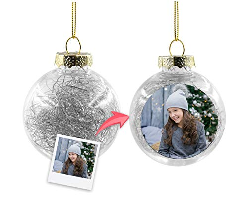Getsingular Bolas de Navidad Transparentes para árbol Personalizados con Foto | Máxima Calidad de impresión |...