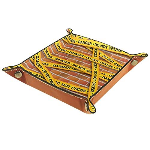 Bandeja plegable de cuero para guardar joyas, organizador de maquillaje, para llaves, monedas, relojes, joyas, dados, colección de líneas de policía amarillas