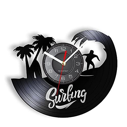 Reloj de Pared de Surf Hecho de Tabla de Surf Cortada con láser, Palma de Coco, Verano, mar, Deportes, Reloj de Pared, decoración de Arte Moderno, 12 Pulgadas