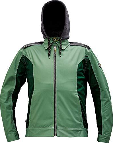DINOZAVR Dayboro Chaqueta de Trabajo/Deportiva Reforzada para Hombre con Capucha Extraíble y Detalles Reflectantes - Verde 46