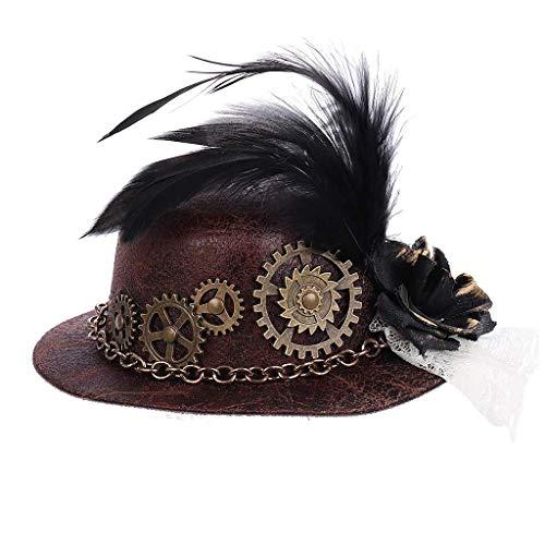 WANBAO Beautiful Crown Mini Sombrero de Copa de Halloween, Cadena Pluma Cosplay Clip para el Cabello Halloween Accesorios de Vestir de Lujo
