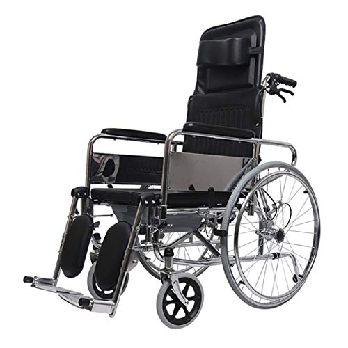 Folding Shower/Commode Wheelchair, Professional Reclining Shower Toilet Chair, with Commode Opening,Padded Seat, Back, Armrests,for Disabled and Pregnant Women.
