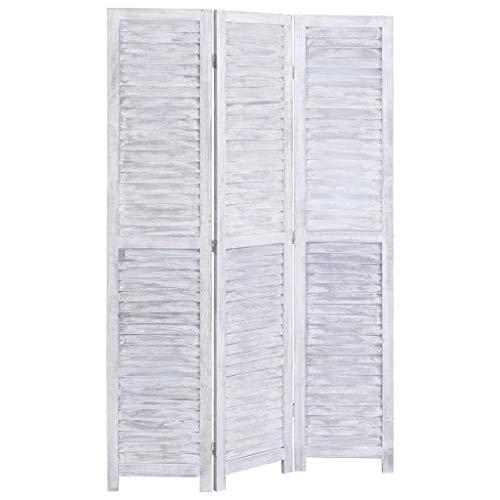 Tidyard Biombo de 3 Paneles Fácil de Plegar Pantalla de Estilo Retro Tela Madera 105x165 cm