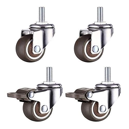 Ruedas giratorias para muebles, 4 unidades, M6 x 15 mm, con rosca de 32 mm, goma blanda de TPE, para muebles pequeños y pequeños (2 unidades con freno)