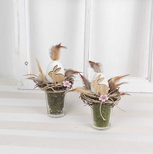 2er Set Ostergesteck im Glas, braune Holzhasen, Ostern, Tischgesteck, Frühlingsdeko