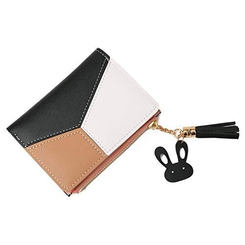 Geometric wallet ladies luxury leather zipper coin purse tassel design long wallet women money credit card holder clutch bag-short black