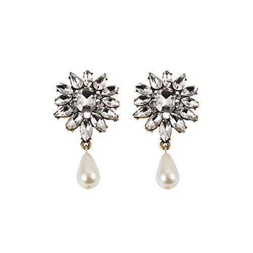 Exquisite elegance AAAAA New Colorful Flower Big Brand Design Luxury Starburst Pendant Crystal Stud Earrings Gem Statement Jewelry-Pearl White-