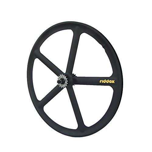 RIDDOX Berlin Laufradsatz Singlespeed Fixie 700C/28 Hinterrad mit Freilaufritzel – Leichtmetall - 5 Speichen – Schwarz Matt