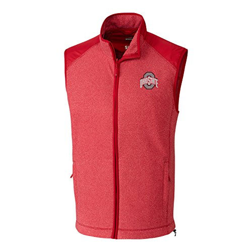 Cutter & Buck NCAA Ohio State Buckeyes Adult Men Cedar Park Full Zip Vest, 3X-Large, Cardinal Red Heather
