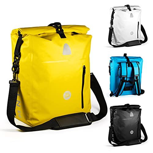 MNT10 Bolsa de bicicleta 4 en 1, portaequipajes en 18 l, 25 l, bolsa para portaequipajes, mochila, bolsa seca y bandolera en 1, impermeable y reflectante, para montar en bicicleta, para excursiones