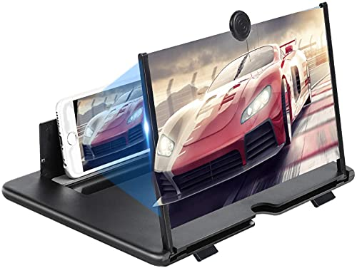 Lente di ingrandimento dello Schermo del telefono12   ,d Ingrandimento per Telefono Cellulare 3D HD Schermo Ingrandimento con Supporto Pieghevole Video Amplificatore per Tutti Smartphone (Nero)