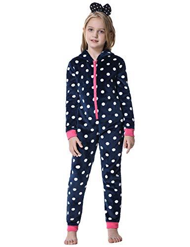 iClosam Unisex Onesie Pyjama für Kinder Mädchen Jugend Schlafanzug Schlafoverall Jumpsuit Einteilige Nachtwäsche Strampelanzug mit Kapuze
