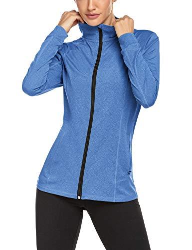 ADOME Damen Sportjacke Laufjacke Sweatjacke Funktionsshirt für Fitness Yoga Top Seinten Tasche Stretch Workout Jacke mit Stehkragen