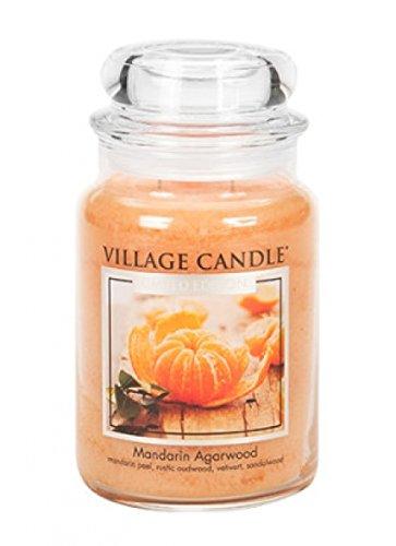 Village Candle Mandarine und Agarholz Duftkerze im Glas, 737 g, Orange, 10 x 9.5 x 14.7 cm