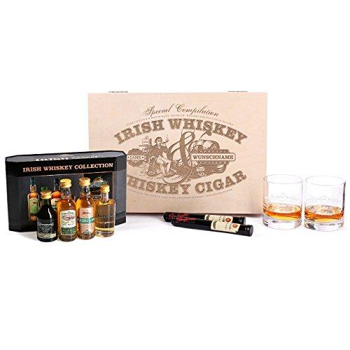 Herz & Heim® 9tlg.Cooleys Irish Whiskey Collection Geschenkset mit gravierten Gläsern u. Zigarren für echte Männer