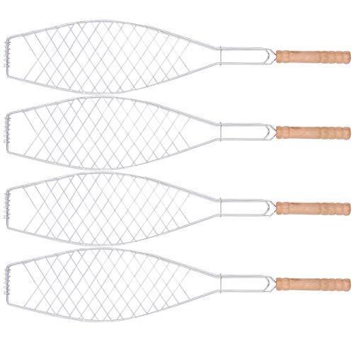 Cabilock 4 Stück Fischgrillgitter Grill Fischbräter Edelstahl Fischhalter Fischzange BBQ zusammenklappbar Fisch-Grillkorb mit abnehmbarem Griff für Fisch Fleisch Gemüse Garnelen(Zufälliger Griff)