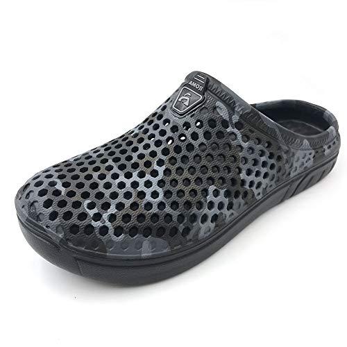 AMOJI Zuecos Ligeros Zapatillas Zapatos de Playa Zuecos de jardín de Secado rápido Crocks Zapatos de Ducha Sandalias Zapatillas para Hombre Mujer Camuflaje Negro 37 EU