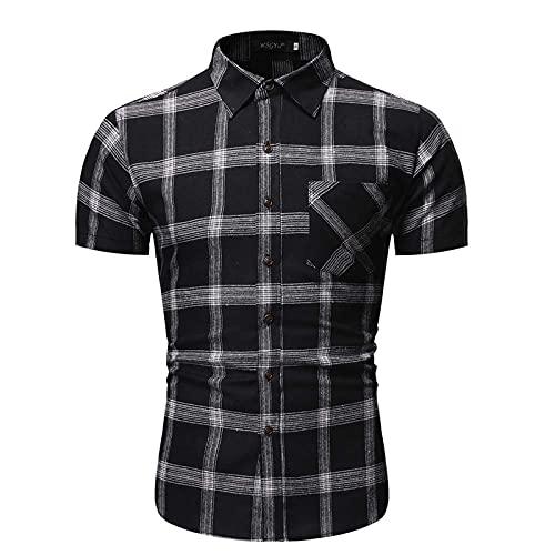 SSBZYES Herren Kurzarmhemden Herrenhemden Sommer Europäische Größe Herren Plaid Shirts Lässig Große Kurzarmhemden Casual Tops