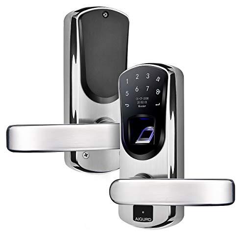 AIGURD Fingerprint Door Lock, Stainless Steel Keyless Entry Door Lock, Biometric Door Lock, Keyless Door Lock, Keypad Door Lock, Digital Smart Door Lock, Keypad Entry Door Lock(Right Handle)