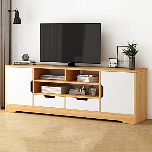 HOUSEHOLD Modern Wooden TV Cabinet, Home Living Room Entertainment Center TV Console, Vertical TV Stand With Open Shelves and Lockers, Used To Accommodate TVs Under 55 Inches