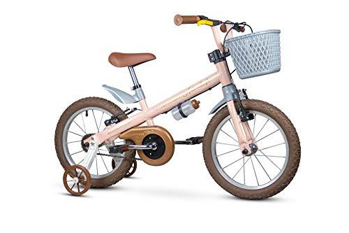 Bicicleta Infantil Aro 16 Com Rodinhas e Cestinha para Menina de 05 à 08 anos, Até 30 Kg, Antonella Rosa - Nathor