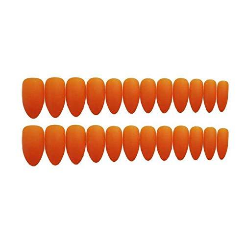 TJJL Faux ongles 24 Pcs Couverture Complète Appuyez Sur La Tête Pointue Gommage Tempérament Frais Orange Faux Ongles Mat Portable Wearable Stiletto Faux Ongles Avec De La Colle