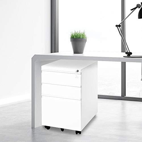 belupai Cajonera con ruedas, incluye 3 cajones, acabado sólido, ideal para escritorio, muebles de oficina, escritorio, contenedores con ruedas, oficina