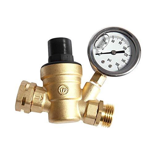 HGFHGD 3/4 Zoll Wasserregler Manometer Ventil Messing einstellbar RV ND20 Druckregler Wasserfilter 0-160PSI Werkzeug