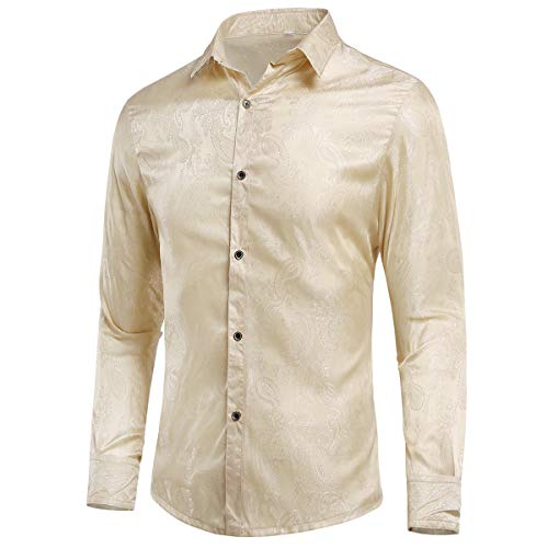 Allthemen Mannen Paisley Shirt Jacquard Zijde Shirts voor Mannen Jurk Shirts Lange Mouw Button Down kraag Casual Tuxedo Shirts