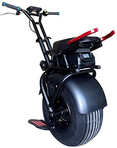 JILIGUALA Monociclo Elettrico 1000W Monociclo Big Pneumatici Fuori Una Ruota di Auto-bilanciamento Scooter Elettrico Monociclo Adulto, Nero, 18inch