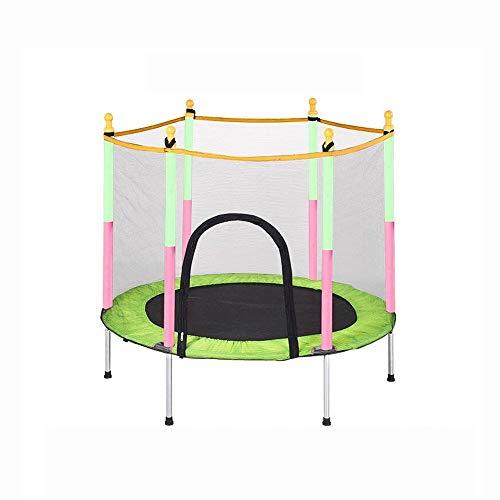 Pulley -O Cama elástica infantil Cama elástica plegable para niños con red de protección Saltar para la cama Equipo de fitness adulto con barandilla Cama de bebé O (color: verde)