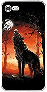iPhone 8 Case/iPhone 7 Case(4.7inch),Blingy's New Cool Animal Design Flexible Soft TPU Protective Rubber Case for iPhone 8/iPhone 7 (Howling Wolf at Moon)