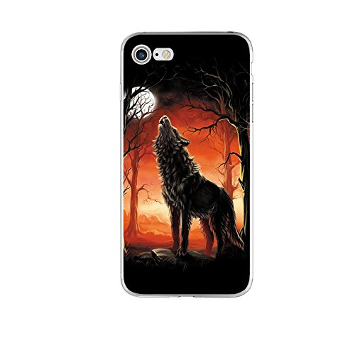 Blingy's iPhone SE (2020) Case/iPhone 8 Case/iPhone 7 Case(4.7inch), Wildlife Design Soft TPU Protective Case for iPhone SE (2020)/iPhone 8/iPhone 7 (Howling Wolf at Moon)