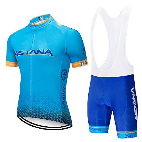 TOPBIKEB Maglia Ciclismo con Pantaloncini in Gel, Completo Abbigliamento Ciclismo per MTB (XXXL, ASNA2BLU)