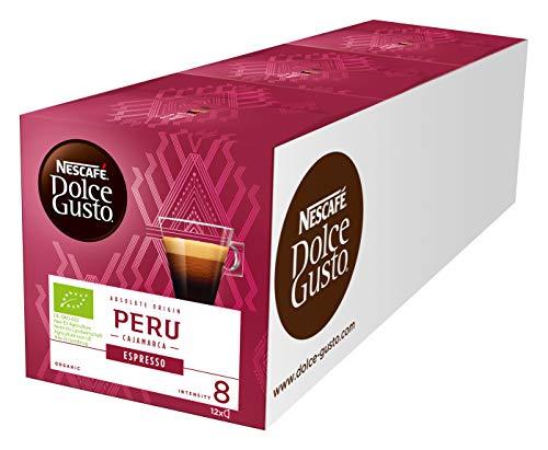NESCAFÉ Dolce Gusto Peru Espresso 36 Kaffeekapseln (100% biologischer Anbau, Hochland Arabica Bohnen, Charaktervoller Espresso, Absolut Origin, Aromaversiegelte Kapseln) 3er Pack (3 x 12 Kapseln)