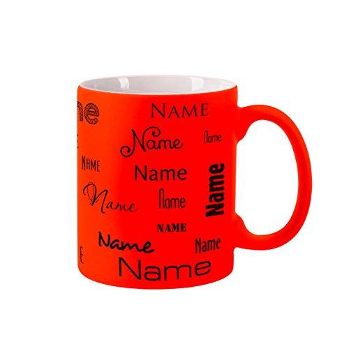 Herz & Heim® Neon Tasse mit Namen - Farbe Orange - Aufdruck des Namens in verschiedenen Schriftarten