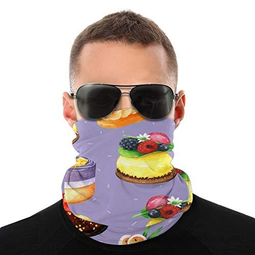 Hangdachang Kuchen in Aquarell mit violettem Ba Gesichtsschutz Unisex Bandana Neck Gaiter Kopfbedeckung Multifunktionale Schal Sturmhaube Für Outdoor-Sport Staub Sonne Wind