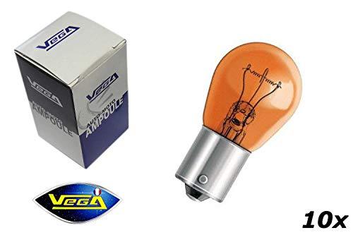 VEGA 10 Ampoules Clignotant PY21W BAU15S Orange teinté Masse 12V