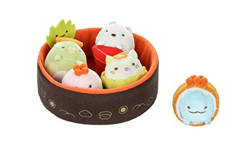 Sumikko Gurashi by San-X Sushi Bowl - Neko, Penguin, Tonkatsu, Tokage Lizard, Weed, White Bear Plush, Doll, Stuff Animal Authentic Licensed Product