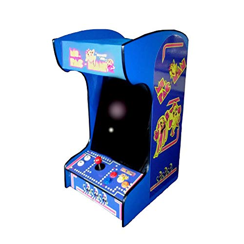 Doc and Pies Arcade Factory Classic Home Arcade Machine - Tabletop and Bartop - 60 Retro Games - Full Size LCD Screen, Buttons and Joystick (Blue)