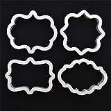 BINGFANG-W 4 stücke weiße vintage plaque rahmenausstecher set plastik keks mold fondant kuchen...