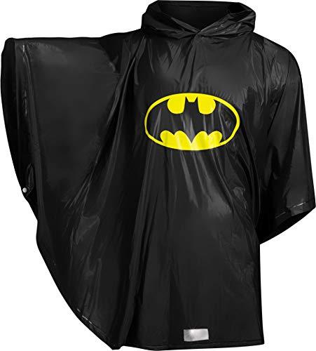Baagl Kinder Regenponcho - Batman Regencape mit Kapuze und reflektiven Elementen - Regenmantel für Jungen ab 130cm