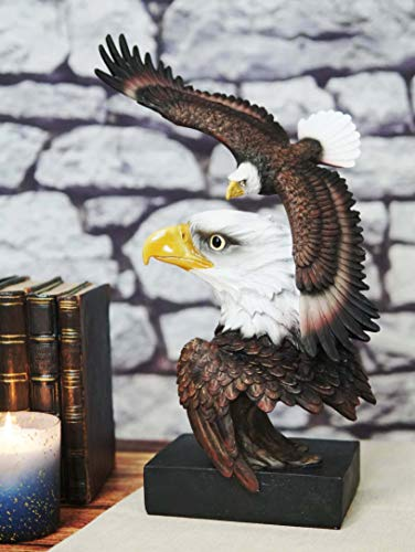 Ebros Large Wings of Liberty Lifelike American Bald Eagle Head Bust with Soaring Eagle Statue On Museum Gallery Pedestal Base Rustic Wildlife Patriotic July 4th Freedom Eagles Figurine (Vivid Colors)