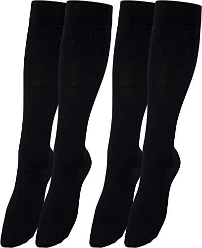 RS. Harmony Stützkniestrümpfe mit Kompression für lange Flug-reisen und Auto-fahrten sowie für\'s Büro, Thrombose Socken und Stützstrümpfe gegen geschwollene Beine, 2 Paar, schwarz, 47-50