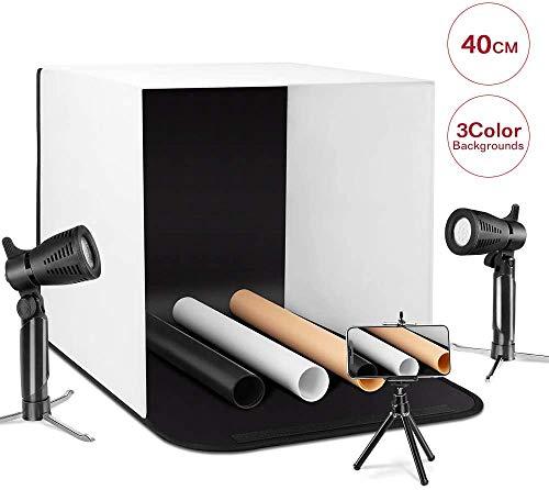 ESDDI Caja de luz 40cm Brillo Ajustable para Estudio Fotográfico Portátil Fondos (Blanco, Negro, Naranja) LED lightX2 Nueva Versión
