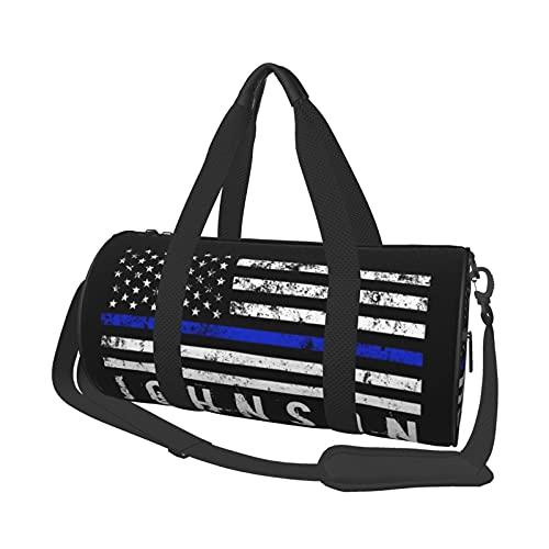 Bolsa de deporte para gimnasio, estilo de la policía con bandera americana, nombre personalizado, bolsa de viaje superligera, bolsa de viaje, bolsa de semana para gimnasio, deportes, viajes, natación