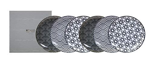 TOKYO design studio Nippon Black 6-er Teller-Set schwarz-weiß, Ø 16 cm, ca. 2 cm hoch, asiatisches Porzellan, Japanisches Design mit geometrischen Mustern, inkl. Geschenk-Verpackung